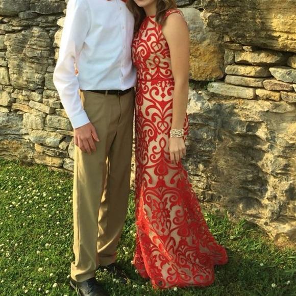 Dillard's B. Darlin long formal red tan dress